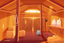 Farm Barn House Inside View. Empty Wooden Ranch Interior With Haystacks, Sacks, Fork, Huge Gate And Little Window Under Ceiling. Traditional Countryside Storehouse Building Cartoon Vector Illustration