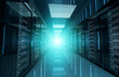 Dark servers data center room with bright halo light through the corridor 3D rendering