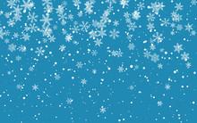 Christmas Snow. Falling Snowflakes On Dark Background. Snowfall. Vector Illustration