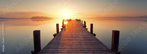 Photo sur Toile Saumon Herbstmorgen am See