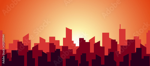 seamless-panorama-of-a-hot-morning-in-a-big-city-the-silhouette-of-the-roofs-of-skyscrapers-in-red-and-orange-warm-sunny-color-vector-abstract-flat-endless-illustration