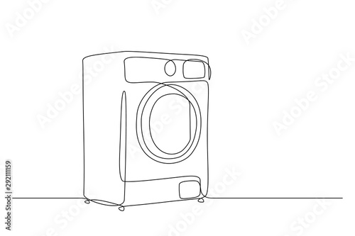 Obraz Washing machine in continuous line drawing style. Washer black line sketch on white background. Vector illustration - fototapety do salonu
