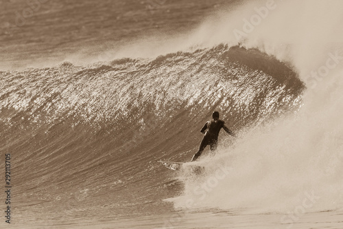 Photo Surfer Surfing Rides Windy Cold Wave Vintage Sepia Tone Action