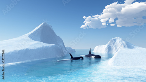 whales swim in the ocean and iceberg Canvas-taulu