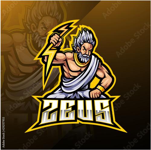 Платно Zeus sport mascot logo design