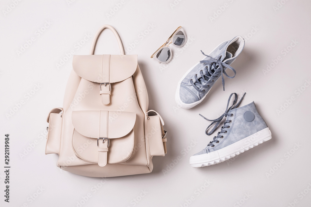 Fototapety, obrazy: White backpack and pastel blue sneakers - fashion accessories