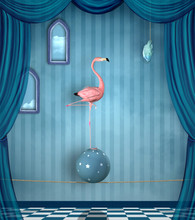 Concept Of Reaching Your Goal Portrayed By A Pink Flamingo On A Surreal Stage