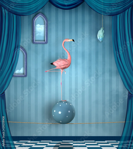 Cuadros en Lienzo Concept of reaching your goal portrayed by a pink flamingo on a surreal stage