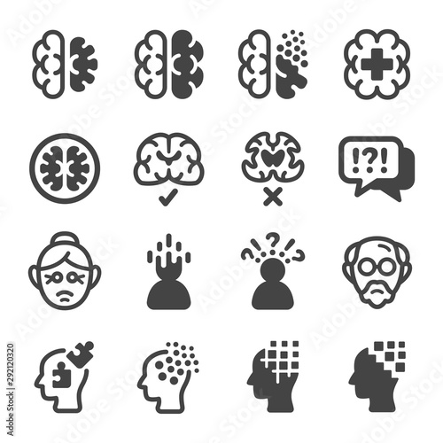 alzheimer disease icon set,vector and illustration Wall mural