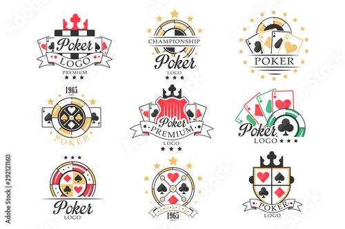 Poker logo set, vintage emblems for poker club, casino, championship vector Illu Canvas-taulu