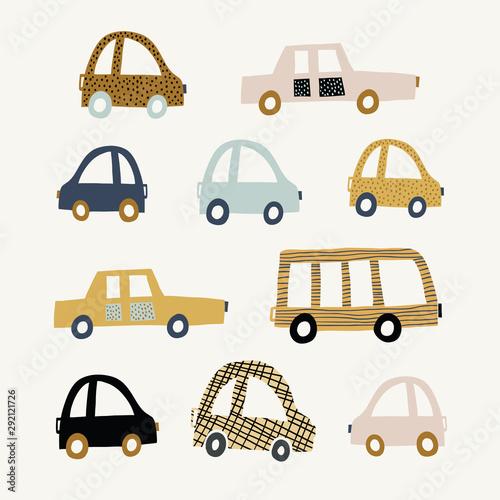 Foto op Aluminium Cartoon cars Kids illustration with cute cars