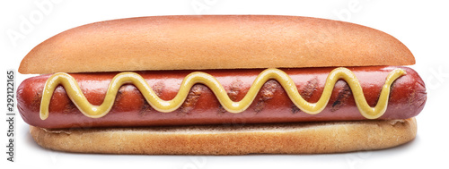 Fototapeta Hot dog - grilled sausage in a bun with sauces isolated on white background. obraz