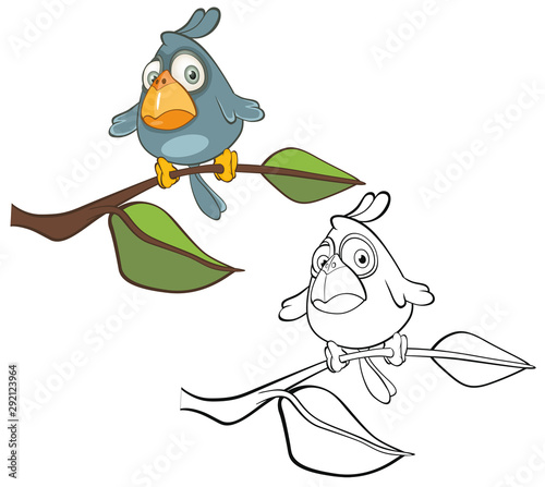 Poster Babykamer Vector Illustration of a Cute Cartoon Character Blue Bird for you Design and Computer Game. Coloring Book Outline