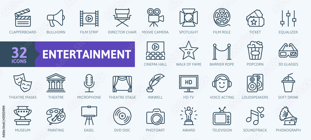 Fototapeta Entertainment - outline web icon collection, vector, thin line icons collection