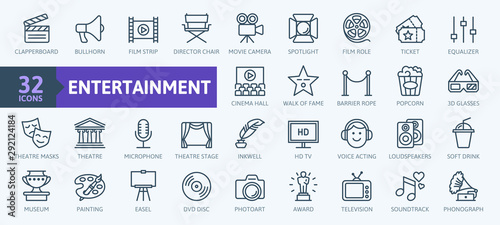 Obraz Entertainment - outline web icon collection, vector, thin line icons collection - fototapety do salonu
