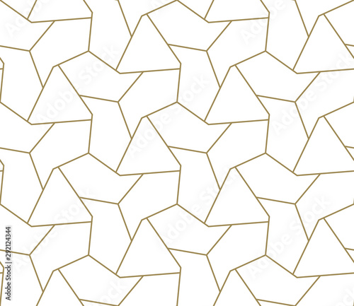 Türaufkleber Künstlich Seamless pattern with abstract geometric line texture, gold on white background. Light modern simple wallpaper, bright tile backdrop, monochrome graphic element