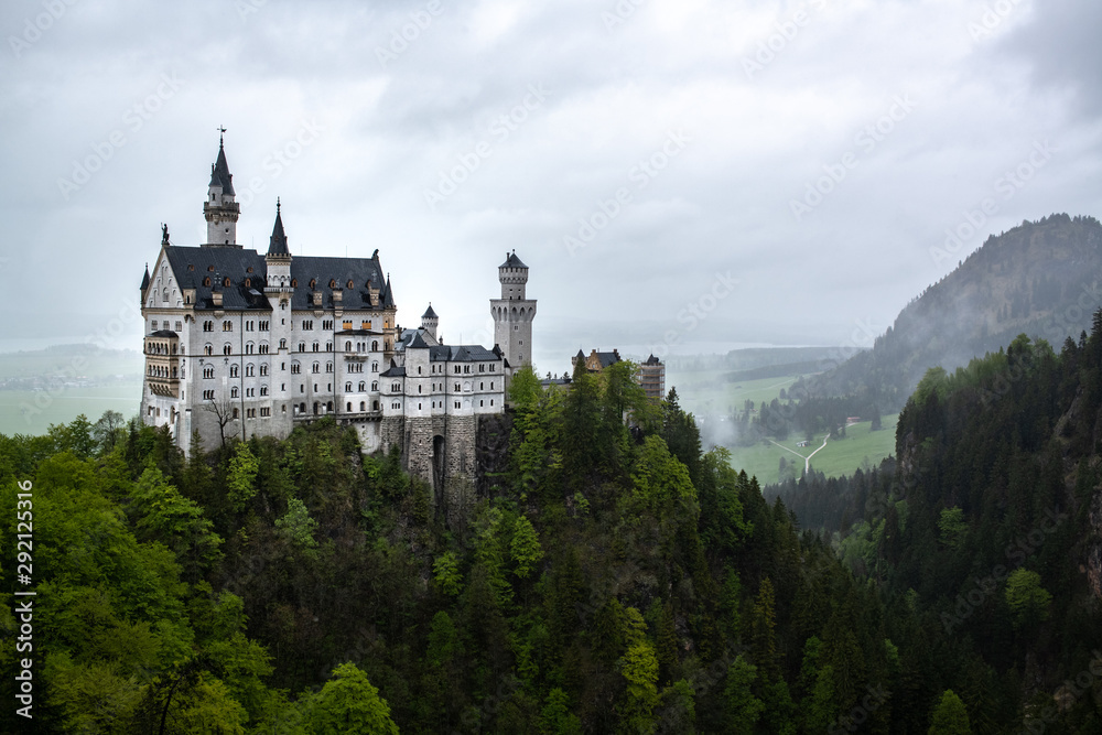 Rainy day at the famous tourist attraction in the Bavarian Alps, Neuschwanstein, a fairytale castle