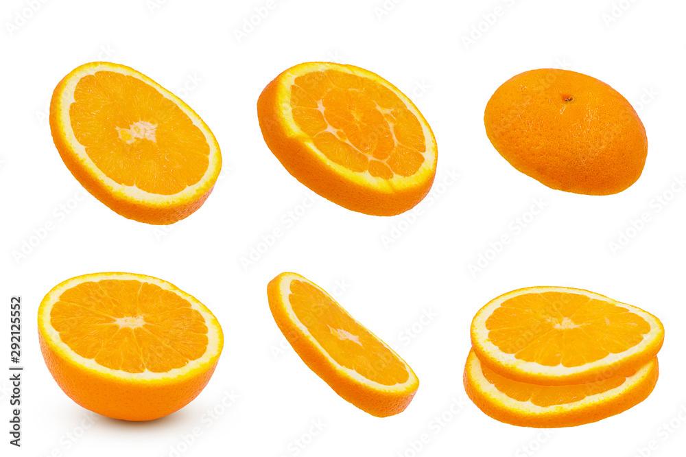 Fototapeta Sliced orange fruit isolated on white background with clipping path