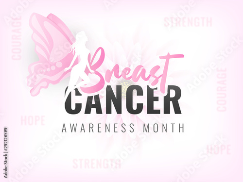Stylish text of Breast Cancer with fairy character on pink flower background for Awareness Month concept Wallpaper Mural