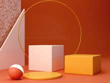 Minimal Podium In Ocher Colors. Scene With Geometrical Forms. Gold Ring, Terrazzo Wall, Sphere With Light And Boxes. Orange And Yellow, Autumn Scene. Minimal Background To Show Products. 3d Render.