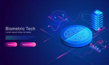3D Illustration Of Biometric Fingerprint And Server On Blue Scientific Background For Biometric Technology Concept Based Landing Page Design.