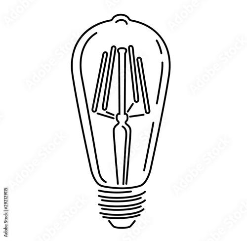 Fotografiet Retro watt bulbs. Light lamp vintage outline logo