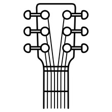 Guitar Headstock Vector Icon In Outlines. Black Aesthetic Contour