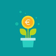 Plant In Pot With Green Leaves And Euro Coin As A Flower. Vector Icon. Income Growth Flat Icon.