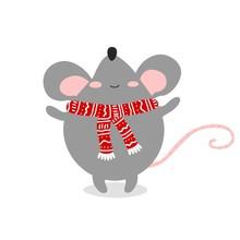 Cartoon Cute Rat, Symbol Of 2020 Year. Chinese New Year. Vector Illustration.