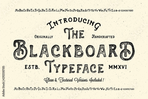 Handmade Modern Textured Font. Retro Typeface Duo . Clean & Textured Versions Included. Vector Illustration. - fototapety na wymiar