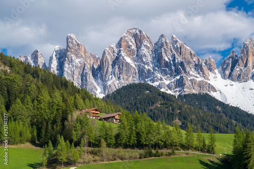 Fototapety, obrazy: Amazing landscape of val di funes in south Tyrol, Italy. Famous tourist spot at Santa Maddalena church with background of Dolomites rocky mountain.