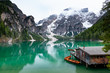 Breathtaking view of Braies lake in Dolomites, Italy. A turquoise lake with background of mountains of alps.