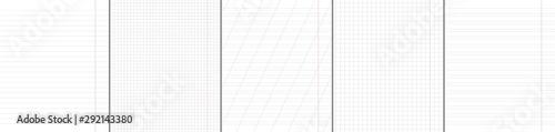 Fototapeta  School notebook vertical paper sheets pattern set.