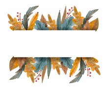 Watercolor Banner Of Leaves An...