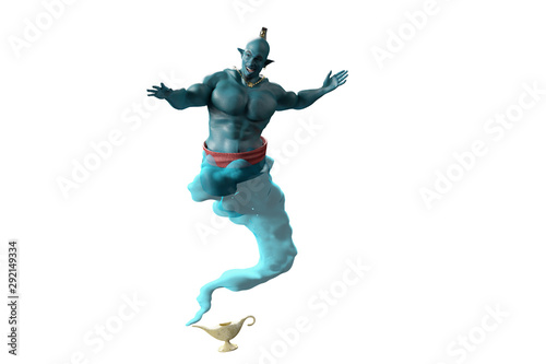Fotografia the Genie from the lamp 3D render