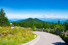Summer Mountain Scenery In North Carolina. Winding Pathway Through  Mountains. Mount Mitchell State Park, North Carolina, USA. Copy Space.