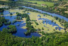Aerial Footage Of Flooded Floodplain In Lonjsko Polje, Croatia