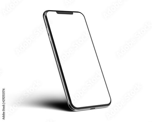 Tela  Smartphone frameless blank screen mockup template on edge isolated on white back