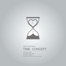 Hourglass And Clock Icon. Isolated On Grey Background.