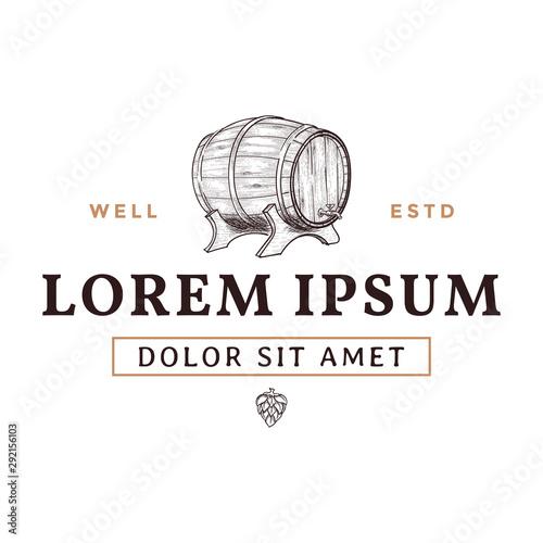 Billede på lærred Beer barrel hand drawn logo design