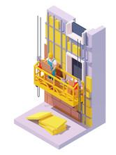 Vector Isometric Building Facade Insulation