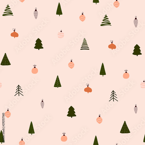 Abstract trendy christmas new year winter holiday seamless pattern with xmas tre Fototapet