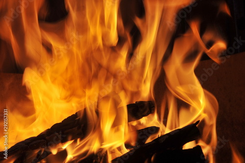 Fényképezés Abstract Fire Textures surface background closeup Set