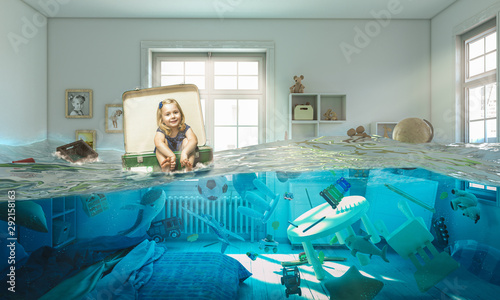 Fotografie, Obraz  girl sitting inside a vintage suitcase floats on water