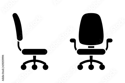 Fotografia Office chair black and white vector icon pictogram set