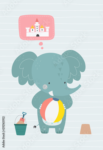 Obraz Elephant on the beach. Vector illustration in a scandinavian style. Funny poster. - fototapety do salonu