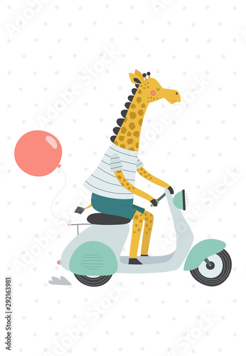 Obraz Giraffe on a scooter with a balloon. Vector illustration in a scandinavian style. - fototapety do salonu