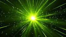 Green Abstract Background With Beams Of Light Come From Center. Green Magic Shine With Particles.