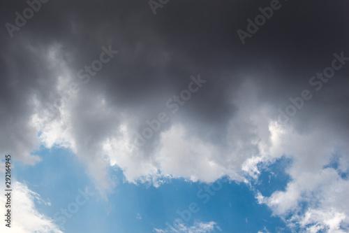 Fényképezés  Gray color clouds partly cover the  sky