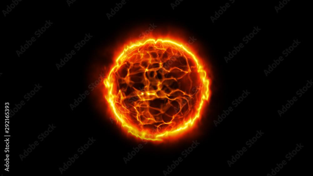 Fototapeta Solar energy abstract background. Fire ball. Sun illustration.